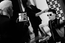 Making of the Chanel Spring/Summer 2012 Eyewear campaign, with Linda Evangelista by Karl Lagerfeld.