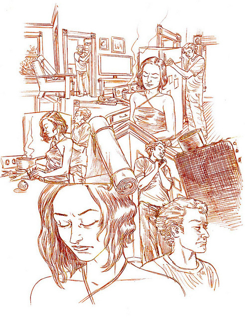 101seconddraftpencils on Flickr.Via Flickr: Dream Life pg 101, second pass on the pencils, in part with ballpoint. was red pencil and blue balpoint but have harmonized the lines here. http://dl.salgoodsam.com/