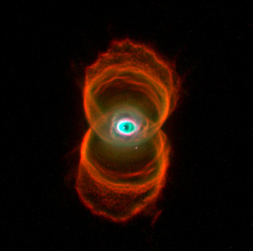 nathanielstuart:  The Hourglass Nebula | ESA/Hubble  Uh, no, I'm pretty sure that's Dalí looking down on us from heaven. Clearly these Hubble analysts are in need of a broader, more humanistic training.