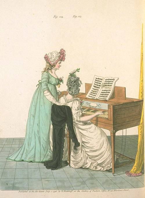 Gallery of Fashion, July 1796.  The green gown is a gorgeous color, and what an unusual bonnet she has!