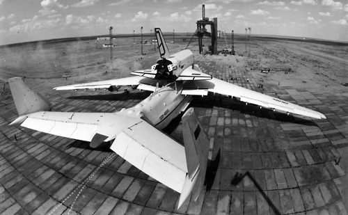 "During 1970s and 1980s, the USSR developed a winged spacecraft known as Buran (Snowstorm) designed to serve as a ""parallel"" response to the perceived military threat from the US Space Shuttle. The Buran development was conducted within the Reusable Space System program, or MKS, which included the winged orbiter itself and the Energia heavy-lift vehicle."
