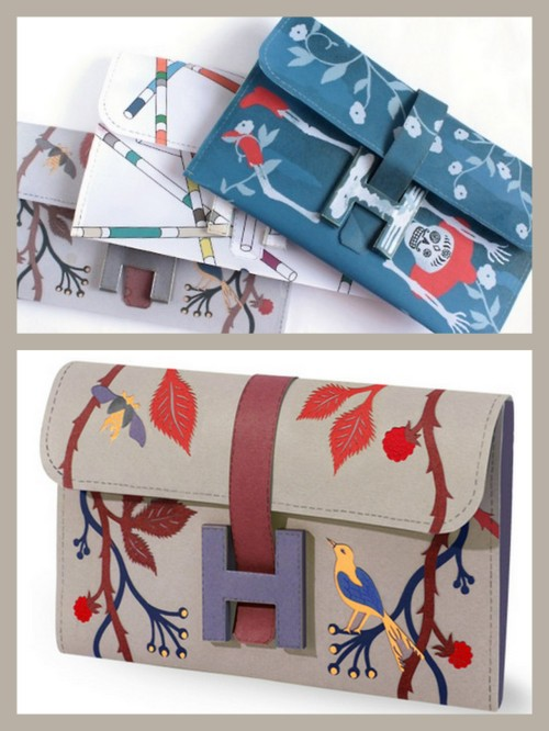 "DIY Free Paper Hermes Jige Clutch. Top Photo: Small Good Things. I posted Emi's tutorial on this a few months ago and a link to her ""how to wax paper"" to make these paper clutches even more amazing here. Bottom Photo: Hermes here. But …Love Maegan just came out with a post with direct links to the six PDF downloads of the bags which is nice because I had a hard time finding them on the Hermes site. Link to ….Love Maegan here."