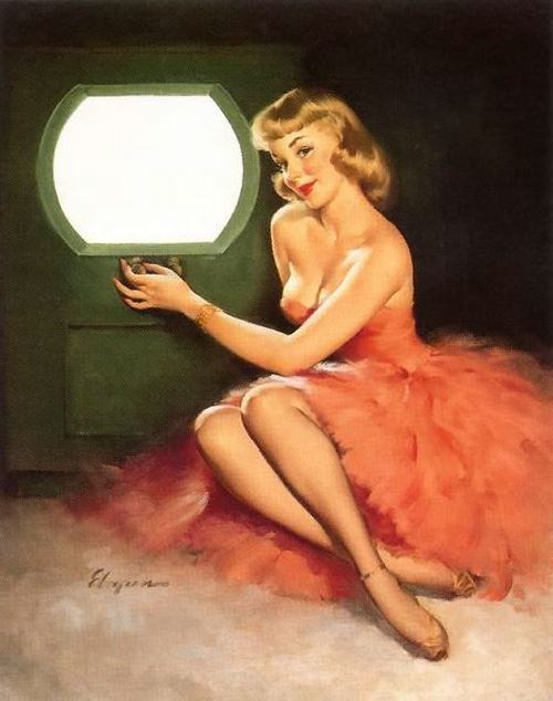 theniftyfifties:  'Good Looking' - pin up art by Gil Elvgren, 1950.