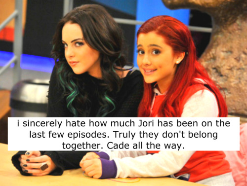 i sincerely hate how much Jori has been on the last few episodes. Truly they don't belong together. Cade all the way. Submitted by: Anon