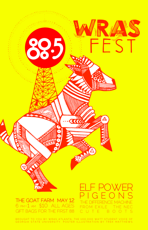 WRAS Fest poster, original illustrations by Trek Matthews