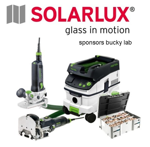 SOLARLUX SPONSORS BUCKY LAB Solarlux the marketleader for folding and sliding windows and well known manufacturer for wintergardens will sponsor the bucky lab with a set of power tools from Festool. Like the innovative solutions Solarlux is offering we will try to keep up within the course and develop innovative solutions also, having these nice tools it will become easier to build our prototypes in the future. Have a look on their website by clicking into the picture. You will also find Solarlux in the Netherlands under: http://www.solarlux.nl/nl/home/index.cfm and for the US market: http://www.nanawall.com/ For this moment we have to thank Solarlux for their supporting sponsorship ! Click also in the tag list to see more Solarlux related articles here on the blog.