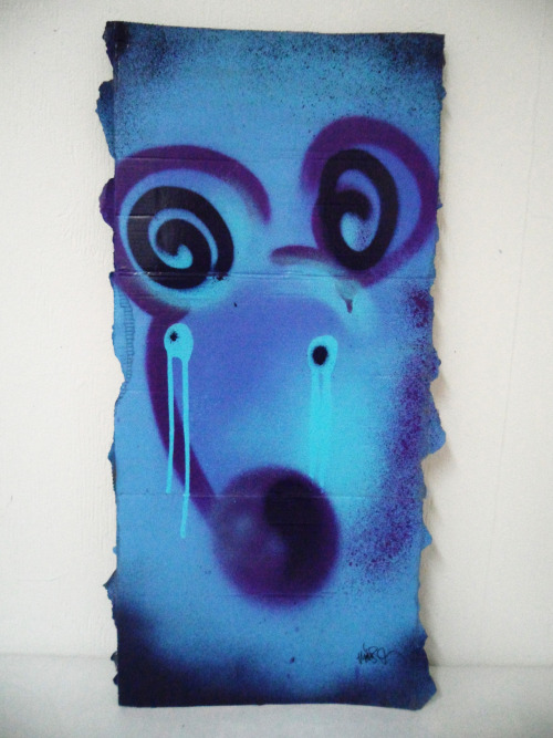 Spraypaint and posca on cardboard