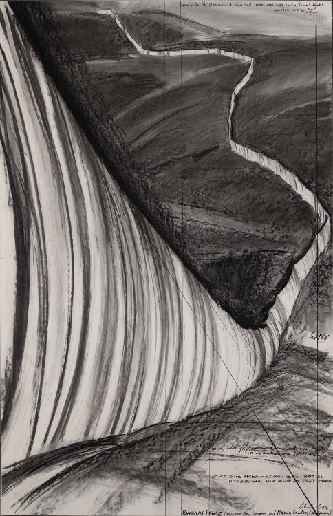 mondonoir:  Christo Running Fence (Project for Sonoma and Marin Counties, California), 1976 Pencil, charcoal, ballpoint pen on paper