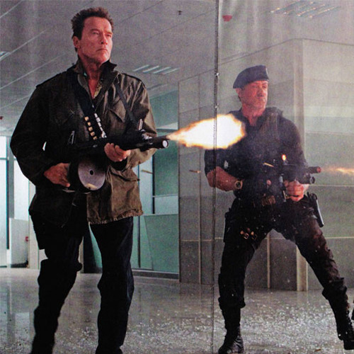 totalfilm:   New image from The Expendables 2 The Expendables 2 has debuted a new image, featuring grizzled old-timers Sly Stallone, Bruce Willis and Arnold Schwarzenegger firing three massive guns… at the same time!