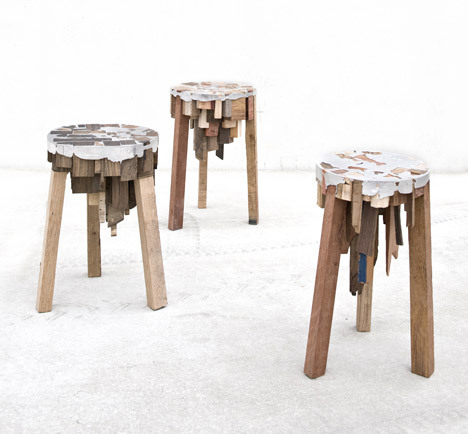 Bits of Wood by Pepe Heykoop Timber offcuts are packed tightly then fused together with molten tin without the use of glue or screws.