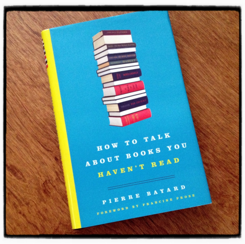 austinkleon:  How to Talk About Books You Haven't Read by Pierre Bayard Surprise! This book won't actually teach you how to talk about books you haven't read, but rather, it'll teach you a certain way of thinking about books. I first saw it mentioned by @mattthomas— he tweeted a while back that this was the book that helped him most with his PhD work, so I bought it for my wife the PhD candidate, and then finally read it myself.   Found this link via Maria Popova's BrainPickings. And just as I add this book to my GoodReads 'To Read' list, I found another book: How to Really Talk about Books You Haven't Read by Henry Hitchings. Go figure. :/