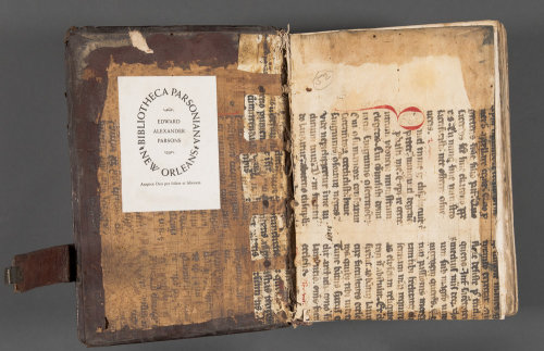 laphamsquarterly:  The Ransom Center on Tumblr! ransomcenter:  Early printed book contains rare evidence of medieval spectacles  Front parchment pastedown, now detached, with offset from the manuscript visible on the boards. Both the front and rear pastedowns came from the same medieval manuscript and are now detached from the boards. Photo by Pete Smith. Rear flyleaf: It's difficult to tell exactly how the spectacles left their impression, but they must have been sandwiched between the two parchment endleaves for an extended period of time. Photo by Pete Smith. This second rear flyleaf contains the most visible trace of the spectacles.  Upon very close examination and under special lighting one can see the rivet used to join the two halves of the spectacles together at the bridge.  Photo by Pete Smith. Rear pastedown: the impression from the spectacles shows faintly through from the other side. Photo by Pete Smith.