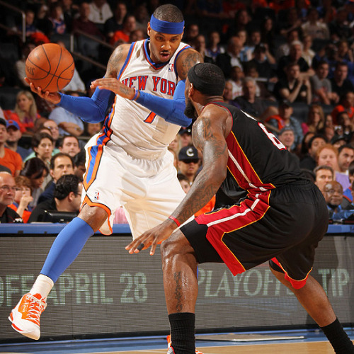 basketball-junkie:  Carmelo Anthony scores 42 points in loss against Miami.