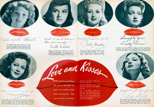 Hollywood Kisses  Two-page spread from the February 1943 Photoplay/Movie Mirror magazinewith Rita Hayworth, Paulette Goddard, Betty Grable , Dorothy Lamour, Maria Montez and Linda Darnell