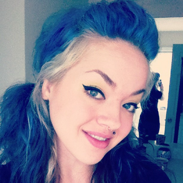 Mornin'! #blue #pigtails #blurple #purple #hair #eyes #eyeliner #cateye #septum #monroe #monday  (Taken with instagram)