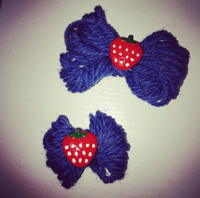"""Blue Strawberry"" Small Hair Bow by LittleRedCraft  their tumblr is liseyy-lush"