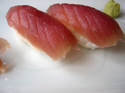 "Bad sushi alert: Yellowfin tuna in 20 states, commonly used in sushi products, has led to over 100 people suffering from a salmonella outbreak, the Food & Drug Administration said. The organization said that many of those sickened by the raw tuna, which isn't commonly sold in stores, reported going for the ""spicy tuna"" when ordering sushi. While nobody has died from the outbreak, 12 have been hospitalized. Next time you go out for sushi, you may want to stick to the avocado rolls. (photo by adactio on Flickr)"