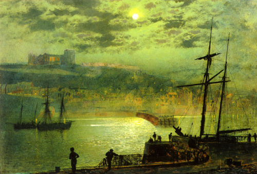 welovepaintings:  John Atkinson Grimshaw (1836-1893)Whitby from Scotch HeadOil on board187943.2 x 28.6 cmPrivate collection