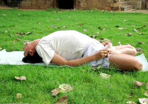 Like a fish – Matsyasana The Yogic practice is beautiful in a sense that each pose has a counter pose to balance the alignment of the body.  Matsyasana is  counterpose of Sarvangasana (Inverted Shoulder Stand). All you need to do is lie flat on the back while sitting in Padmasana. Or you can first lie flat and then do the Padmasana. Stretch the head backwards and rest the head on the ground. An arch or a bridge will be formed in the final position. Catch hold of your toes with your hands. You can do it from 1 minute to 10 minutes. On the physical plane, Matsyasana relieves stiffness of the neck and cervical region. The neck and shoulders are massaged in a natural way. The breathing becomes deep and rhythmic. Its practice is useful in chronic Bronchitis and Asthma. Matsyasana cures constipation. Do it often in your daily practice and discover a new you.