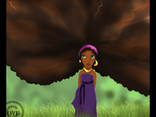Now this is alotta hair!! naturalchocolateandhappy:  Afro Rapunzel by ~dyb
