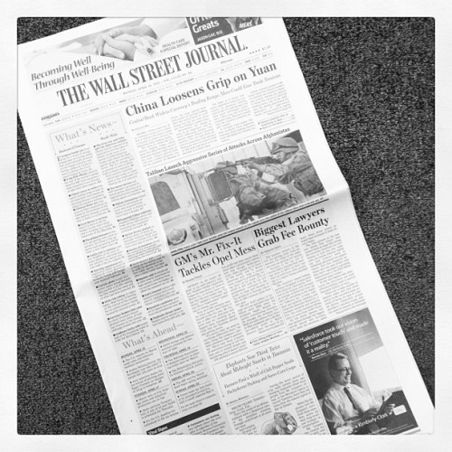 onaissues:  All the bylines on today's Wall Street Journal are women.  (via emilycsteel's Instagram)