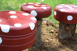 Toadstool Stools {How to} Found at: twigandtoadstool