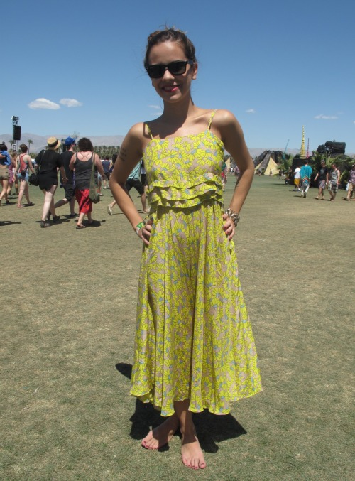 Daisy prints were a reoccurring theme at Coachella - this was our favourite version we spotted. WGSN street shot