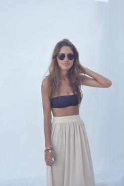 girl fashion summer skirt Italy sunglasses American Apparel rayban island panarea