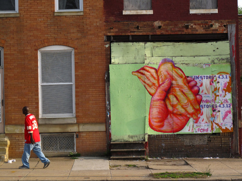 Hands of Life and Death by gaia.streetart on Flickr.Dope Gaia in Baltimore.  Great colors.