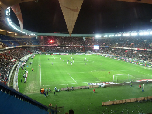 25. Parc des Princes Paris, France Built: 1972 | Capacity: 48,712 Home of Paris Saint-Germain. Previous home of the French national football and rugby teams until the completion of the Stade de France in 1998. The stadium hosted the final of the 1984 European Championship. France defeated Spain 2-0 to gain their first major international honours. The Parc des Princes also hosted several matches of the 1998 World Cup, including the third place match (Netherlands 1-2 Croatia). Like the Stade Velodrome in Marseille, there was a cycle track around the original Parc des Princes, which was built in 1897. The stadium hosted the final leg of the Tour de France until 1967. Photo by psgmag.net (flickr page)