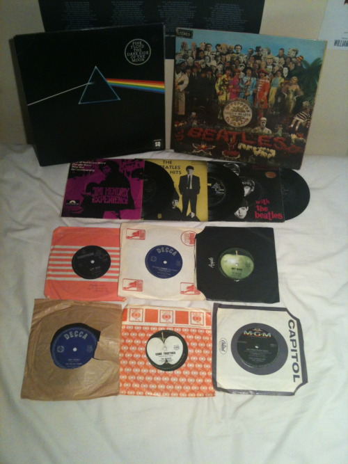 ballandbiscuitt:  VINYLS GIVEAWAY!! hello sensation seekers! the other day i received a tonne of new records from my uncle (wooooo) but now i have heaps of double ups so i decided to give them away to you pleasant people (all are in good condition) so there's two beautiful LPs: Sgt. Pepper's Lonely Hearts Club Band - The Beatles Dark Side of the Moon - Pink Floyd and nine 45s  :) Jimi Hendrix Experience (The Wind Cries Mary/Purple Haze/Hey Joe/51st Anniversary) The Beatles' Hits (From Me to You/Thank You Girl/Please Please Me/Love Me Do) With The Beatles (Devil in Her Heart/Not A Second Time/It Won't Be Long/Don't Bother Me) Don't Let Me Down/Get Back - The Beatles Something/Come Together - The Beatles Ruby Tuesday/Let's Spend the Night Together - The Rolling Stones Revolution/Hey Jude - The Beatles Satisfaction/The Under Assistant West Coast Promotion Man - The Rolling Stones San Franciscan Nights/Good Times - Eric Burdon and The Animals just reblog/like this post and follow me (ballandbiscuitt.tumblr.com) to be in the running :) i'll message the winner on may 17th, good luck amigos!