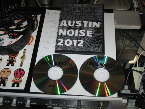 iownsomerecords:  V/A - Austin Noise 2012 (Instincto Records 2012) I'm not gonna lie, I was intimidated by this compilation, to say the least.  I mean 40 noise artists, of which I've only heard of 4 beforehand?  That's fucking scary.  Over the course of two hours. these two CDrs help you explore what seems to be a super rich noise scene in Austin Texas.  Every kind of noise is represented (except HNW, which i don't think there is time for), lo-fi harsh pedal play, 8-bit glitchy noise, collage noise, sampling, analog synth worship, homemade gear destruction, etcetera, etcetera, etcetera.   It's so hard to review compilations, especially one of this magnitude.  These two CDrs have so many peaks and valleys, goods, bads, excellents, horrids, stranges, you can seriously hit every human emotion while listening.   Even the bad stuff makes you think, or chuckle.  I love shit like this, because I don't know if I'd ever get to go to a noise show in Austin, and I most never would be exposed to most of these artists.  While listening though there were a few artists that really excited me, and will be requiring my further attention.  These artists are: Dia Bas, BORN, Sex Bruises, Tigre Merde, Douglas Ferguson, Power Monster, Aunt's Analog (who I actually discovered on MYSPACE like 6 years ago but have never been able to track down any of their releases!), Korperschwache, Gym Mat Nap, Youthful Masturbation Techniques, Mugwump (AWESOME name!), Dakota Hogback, Skullcaster, Ruthless Dukes, Epop Nivek.  Seriously though, if you can track down a copy of this I suggest you buy it.  I don't know how though, the label has a website that looks like it hasn't been updated in quite some time, I got my copy from one of my readers (Meepsy!).  Which reminds me, SEND ME SHIT TO REVIEW!   This took me on an amazing journey.  Like Neverending Story kind of shit.   -Log.