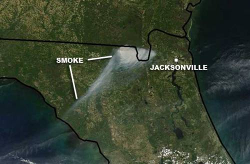 "The ""County Line Fire"" in northern Florida has burned more than 30,000 acres in Columbia County as of April 10, 2012. Satellite image via Weather.com via NASA"