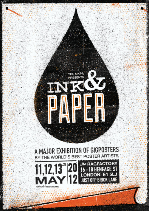 Ink & Paper I am going to be exhibiting my work at Ink & Paper in London in May. Ink & Paper is organised by the UKPA and according to the wonderful poster by Bobby Telegramme it is a major gig poster exhibition of the world's best poster artists. And me. So if you're in London that weekend then feel free to come and say hi. Sean www.seanmort.co.uk // www.seanmortprintshop.co.uk // @seanmortdesign
