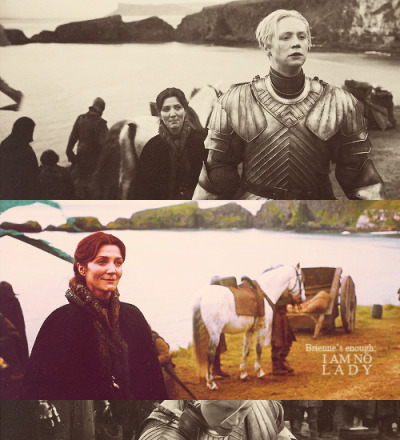 "sonicmeifyoudare:  ""Catelyn very much sees Arya in Brienne. She sees determination, and a willfulness—a woman in a man's world. There's a scene in this season where Catelyn looks at her, and just sees her daughter in her. "" Michelle Fairley."