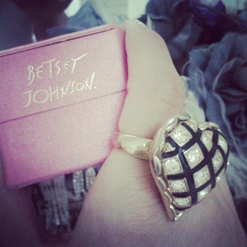 Betsey Johnson ring from my Love #jewelry #heart #ring #BetseyJohnson #fashion #style (Taken with instagram)