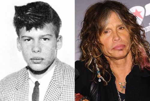 Steven Tyler was not always a flamboyant rock and roller. He was once a geeky little dude. Check out some amazing before and after photos of your favorite rock gods.