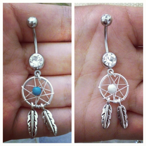 dream catcher belly rings came in today!(:
