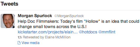 Thanks to fellow West Virginian, Morgan Spurlock, for his shoutout on Twitter about Hollow!!