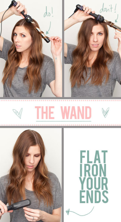 "I use a Conair curling wand and I love it!  Here is a great tutorial from The Beauty Department! The curling wand has become quite the popular tool! We showed you how to make your own from a curling iron HERE and we got a LOT of positive feed back from you guys! Here are a couple helpful things you should keep in mind when using your curling wand…  DO leave a little space in between the hair each time you wrap it around the barrell. That gives you a more relaxed wave. If your hair is really long, you'll have no choice but to let it be a little closer together so that it all fits on the iron, but try tugging on it for 10 seconds after you unwrap it. That will also relax the curl a little, making it look more natural. DON'T coil it too tight. The hair will get too ""pattern-y"" and can look more like a perm than natural waves. DO flat iron your ends on medium heat to smooth out the ends. When you curl your hair with a wand, you usually don't hit the ends with heat. To get even heat-treated shine throughout, I recommend just going over them lightly with your flat iron. Which do you use more? The curling iron or the curling wand? SOURCE: www.thebeautydepartment.com"