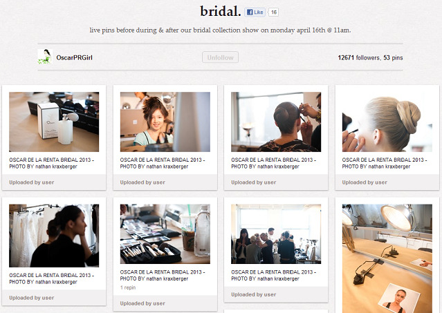 "Fashion house Oscar de la Renta is live-pinning photographs from its bridal show today on Pinterest. ""Pinterest has got a lot of momentum right now, and we want to be involved with people who have momentum,"" CEO Alex Bolen tells Mashable. This could only be more zeitgeist-grabbing if they were Instagramming the shots first…"