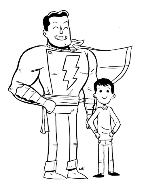 SHAZAM! & Billy Batson | by Chris Haley (chrishaley:  thechrishaleycoloringbook:  Here I have drawn SHAZAM & Billy Batson for you to color! This dude is cool, because he is another one of those characters that is like two for one, where you get this little kid who has a really sad backstory and his life is mostly awful, but he still manages to be a good little dude, and then one day he gets a magic word that turns him into a superhero! This is basically the best thing that could happen to anyone, but it is especially nice that it happened to him. You can print this out and color it with crayons or on the computer all fancy like if that's your thing. (Click here for the big sized version!) Either way is totally fine with me, just be sure to let me know how it turns out by giving me a shout on Twitter or dropping it in the Submissions Box! As always, sharing is caring, so if you like this or think other people you know might like to color it, reblog it or print it out and give it to them. xoch  I can't believe no one ever colored this one. I'm not even a fan of my stuff, and I really like it!