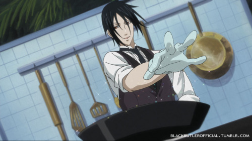 "And now, for one hell of a BAM! (Take that, Emeril!) blackbutlerofficial:  CAPTION THIS. This week's image to caption, features Sebastian since this is Sebastian Appreciation Weekend.We've provided the image, now you guys chime in with your proposed captions. Add your caption by commenting in a re-blog, or including your own image reply. Let's just try to keep things TV14 on the captions please. :) We'll give you guys over the holiday weekend (Friday-Monday), and then we'll announce who has the bragging rights for best Black Butler caption this time around. ^_~ P.S. If you want to share your love of Sebastian this weekend on Tumblr, when you go to post your content, don't forget to add the keyword tag of ""Sebastian Appreciation Weekend"" for a chance to be featured by us!"