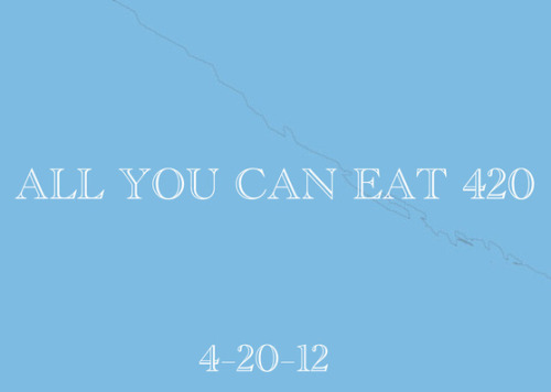 All You Can Eat 420 Tom Robinson Gallery 2416 W North Ave (at Western Ave) Chicago, IL 6064Friday, April 20, 20126:00pm until 8:00pm All You Can Eat 420 is an exhibition of student work from the Advanced Fiber and Material Studies studio at The School of the Art Institute of Chicago (SAIC). The exhibition combines multiple practices involving fiber, paper-making, sculpture, performance, video, photography and installation. Themes explored include migration, urban sprawl, animism, identity, hegemony, intersubjectivity, sustainability, and our relationships to objects, materials, and each other. Advanced Fiber and Material Studies Studio:Kayla AndersonLuis Miguel BendañaRobert BettingerNicole BoyettAbigail Marguerite Dreier Geanna HernandezMaegan JenkinsEmma Bennet JonesSarah MalloryEmma RobbinsAdam Liam RoseDarcy TerrellVincent UribeZitlali YunuhemAlexander Zak