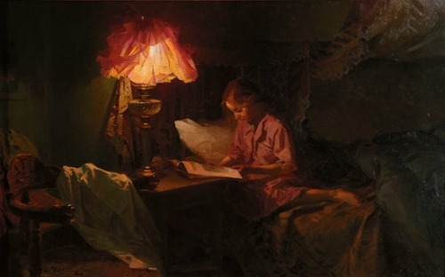 poboh:  Interior with reading girl in lamplight, Even Ulving. Norwegian (1863 - 1952)