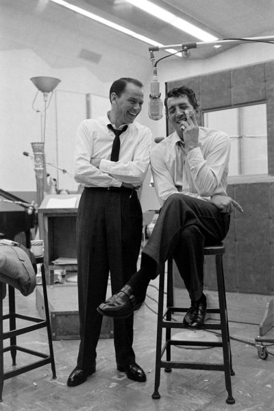 theniftyfifties:  Frank Sinatra and Dean Martin during the recording sessions for 'Sleep Warm', 1958. Photo by Allan Grant.