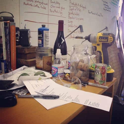 Desk at the shop. Maybe time for a round of cleaning.  (Taken with Instagram at The shop )