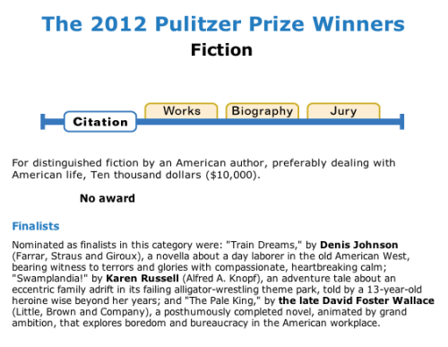 "powells:  ecantwell:  OUCH. (Today's epigraph: ""No award."")   You can check out the winners in poetry, biography, history, and nonfiction here.  What are the requirements for a winner that can leave the award un, you know, awarded?"