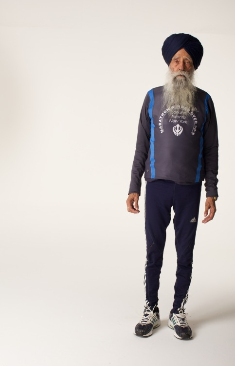 Fauja Singh, 100 years old. Record holder marathon runner, UK. At the age of 89 he ran in the London Marathon for the first time, and has been participating in it ever since.