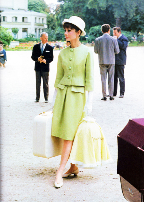 Audrey Hepburn dressed in Givenchy on the set of Paris When it Sizzles, 1962. Photo by Bob Willoughby